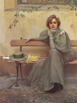 Vittorio Corcos - Portriat of Sandra seated - Offset