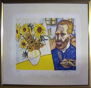 Red Grooms - van Gogh with Sunflowers - 1988 Lithograph