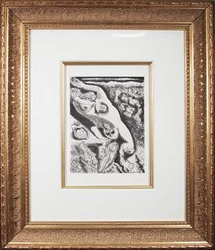 """Andre Masson - Le Septieme Chant I - 1974 Etching 27"""" x"""
