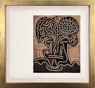 """Pablo Picasso - Le Vase De Fleurs - 1962 Linocut 16"""" x"""