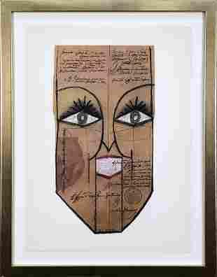 "Saul Steinberg - Mask - 1966 Lithograph 18.25"" x 14.25"""