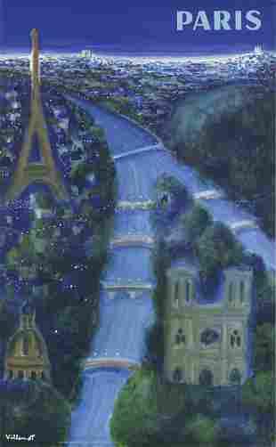 """Bernard Villemot - Paris - 1967 Lithograph 39.25"""" x"""