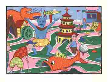 Rodney Greenblat - Minigolf Circus - 1988 Serigraph -
