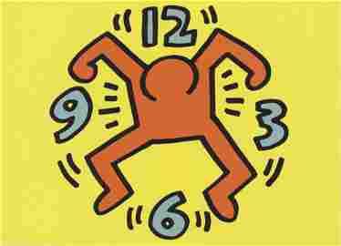 "Keith Haring - Clock Man - 1991 Offset Lithograph 4.75"""