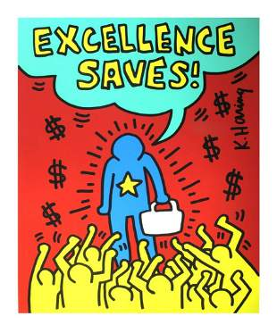 """Keith Haring - Excellence Saves - 1990 Serigraph 36"""" x"""