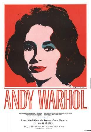 "Andy Warhol - Liz Taylor - 1989 Offset Lithograph 38.5"""