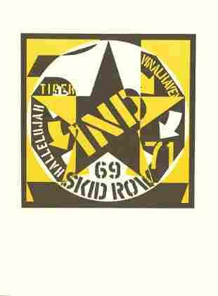 "Robert Indiana - Skid Row - 1969 Lithograph 14"" x 10.5"""