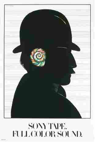 """Milton Glaser - Sony Tape - 1980 Offset Lithograph 36"""""""