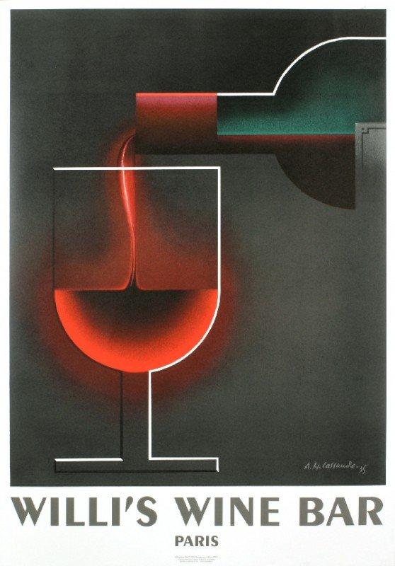 101016: Cassandre Willi's Wine Bar Lithograph