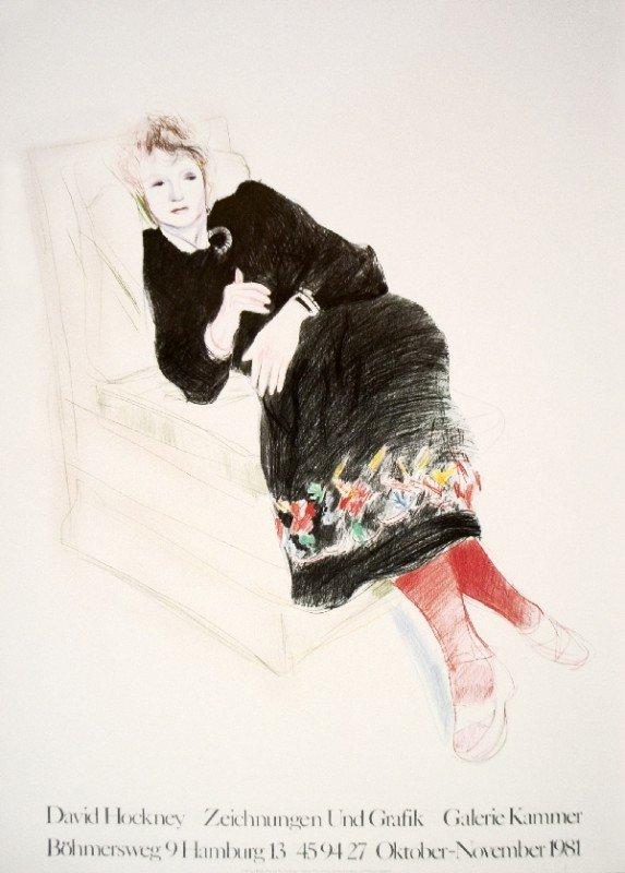 101264: Hockney Celia In Black Dress w/ Colored Border