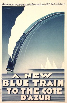 Zenobel Blue Train-Cote D'Azur (RESTRIKE) Litho