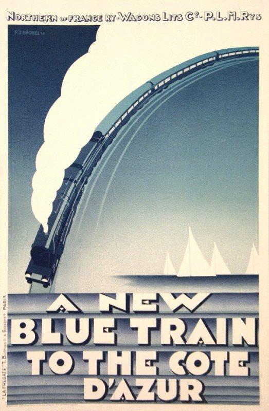 1068: Zenobel Blue Train-Cote D'Azur (RESTRIKE) Litho