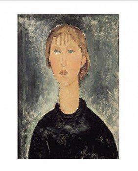 122074: Modigliani Jeune Fille Blonde en Buste Print