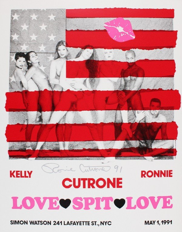 999581B: Signed 1991 Cutrone Love-Spit-Love Poster