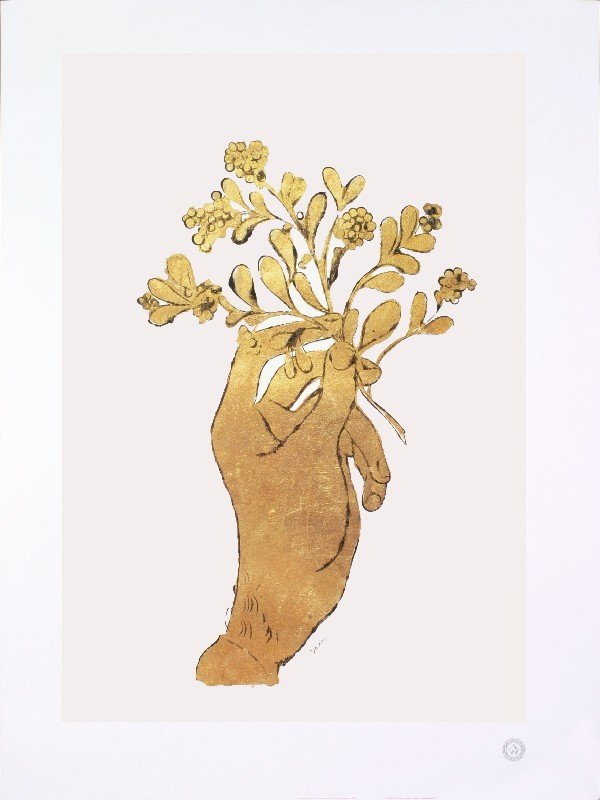 Warhol Untitled (Gold Hand with Flowers) Poster