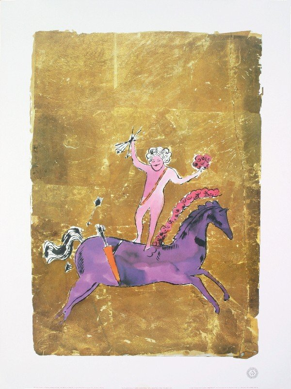 Warhol Untitled (Cupid Atop Purple Horse) Poster