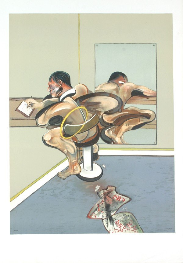 1976 Bacon Figure Writing in Mirror Mourlot Litho