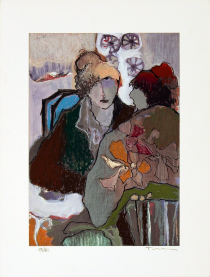 1007: Signed Tarkay Conversation Lithograph