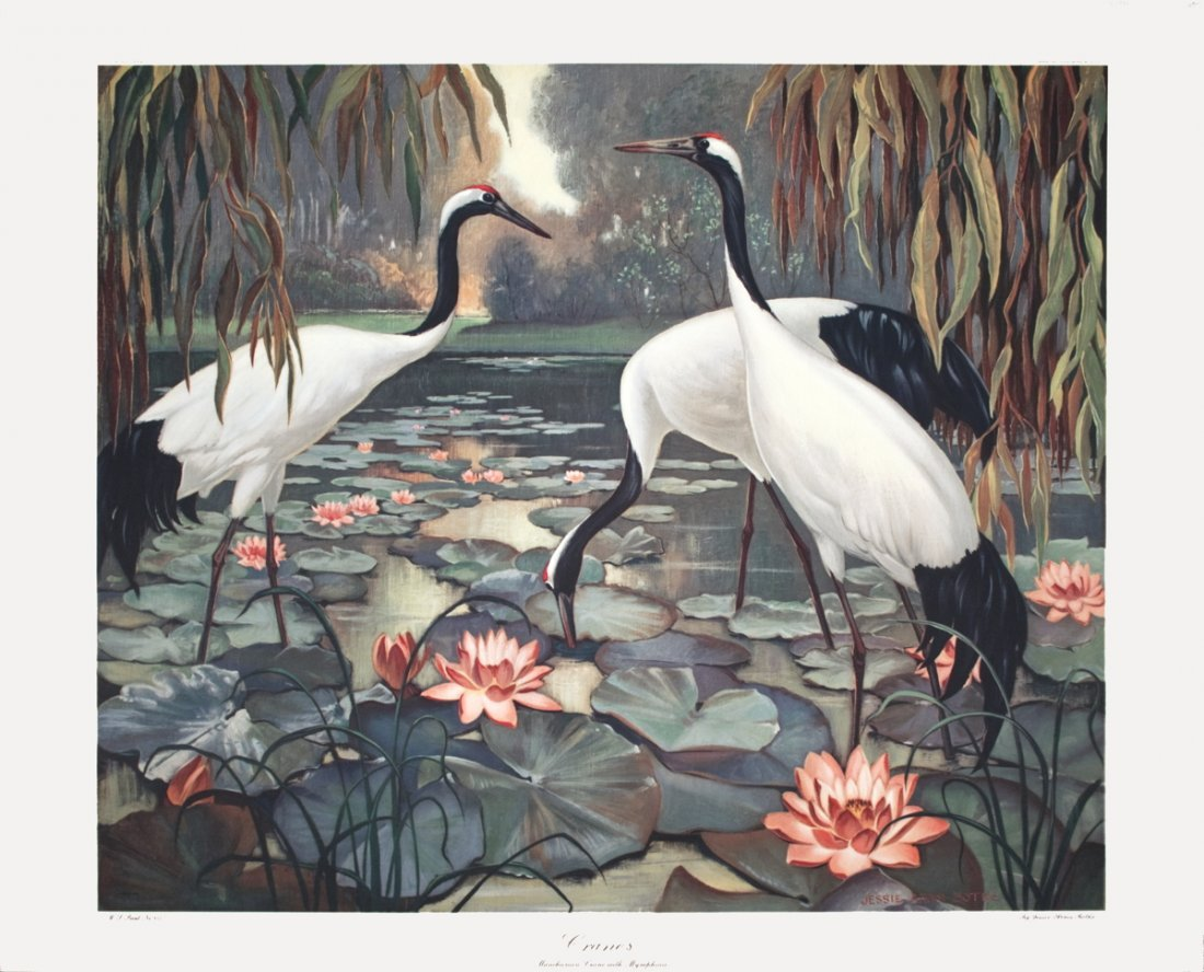 1017: Botke Manchurian Cranes with Nymphaea Poster