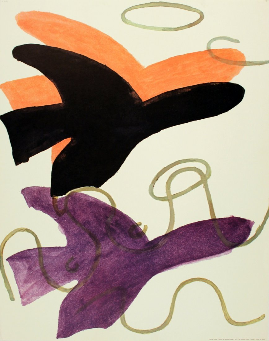 1020: Braque Red, Black, and Purple Birds Poster