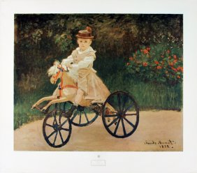 Monet Jean On A Wooden Horse Poster