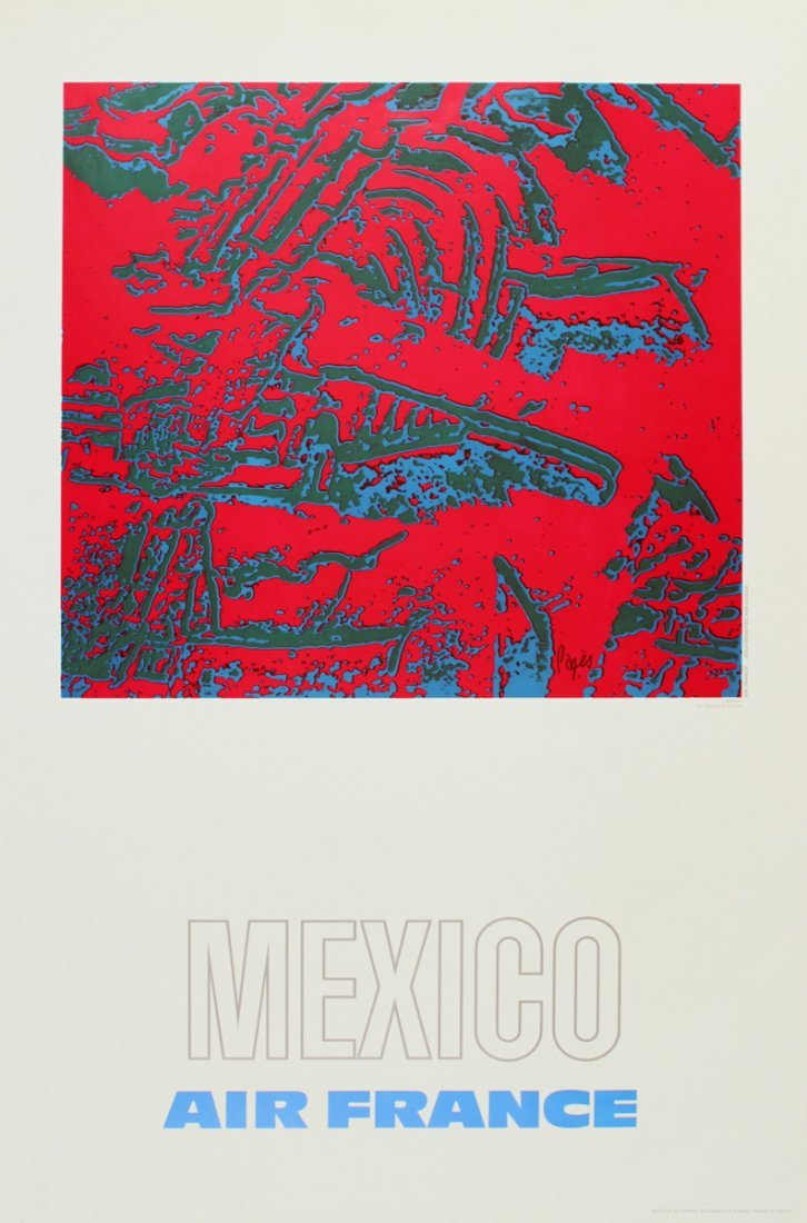 1138: 1971 Pages Air France: Mexico Poster