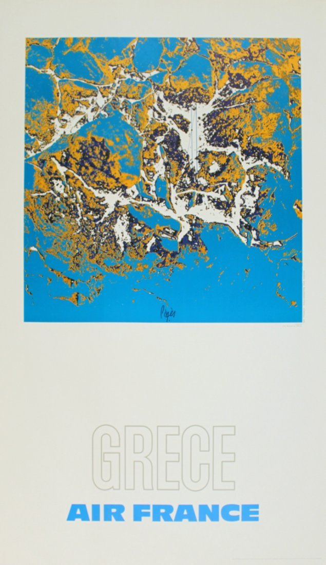 1141: 1971 Pages Air France: Grece Poster
