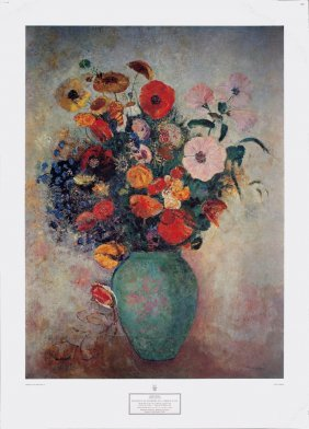 Redon Bouquet Of Flowers In A Green Vase Poster