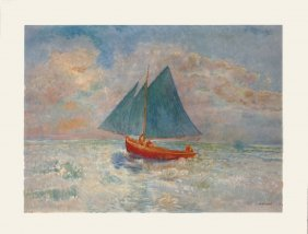 Redon The Red Boat Poster