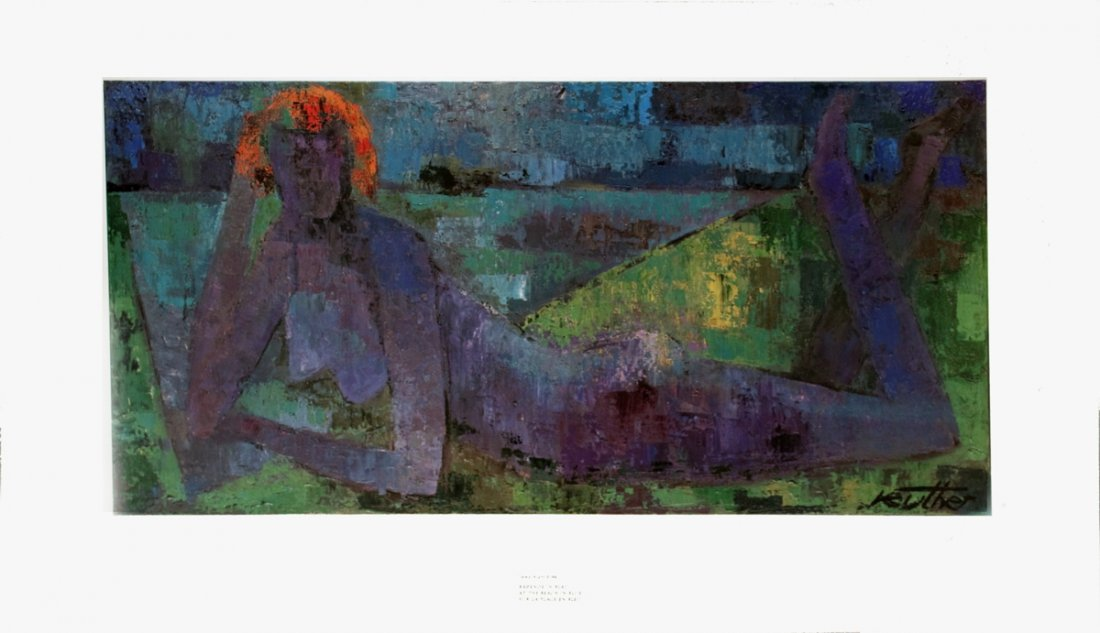 1199: Reuther At the Beach in Blue Poster