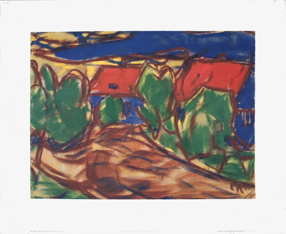 1208: Rohlfs Landscape with Houses Poster