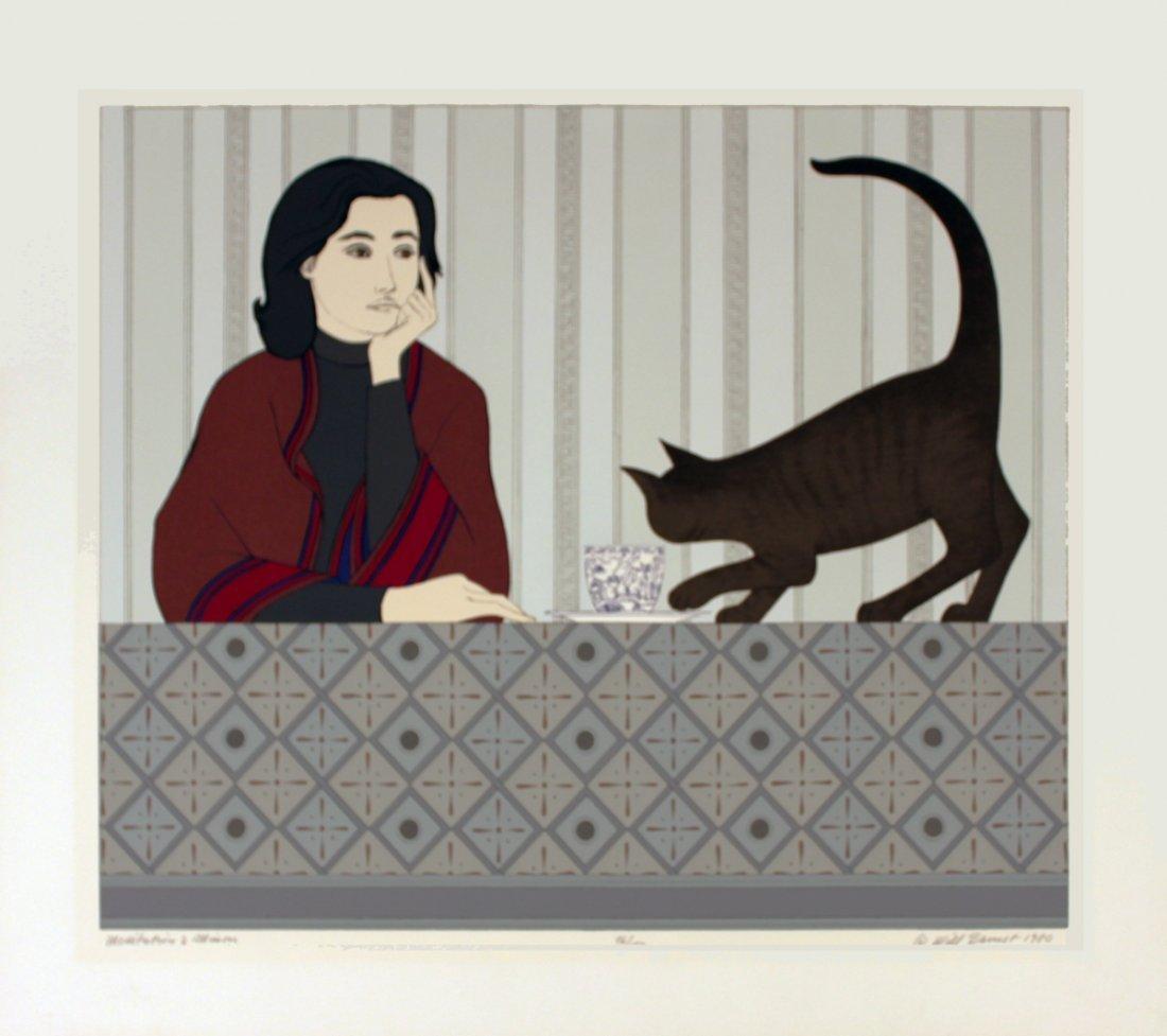 1263: Signed 1980 Barnet Meditation and Minou Serigraph