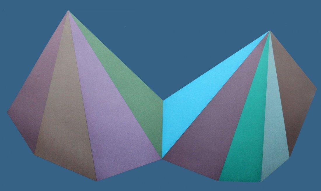 1267: S/N Lewitt 2 Asymmetrical Pyramids (Blue) Print