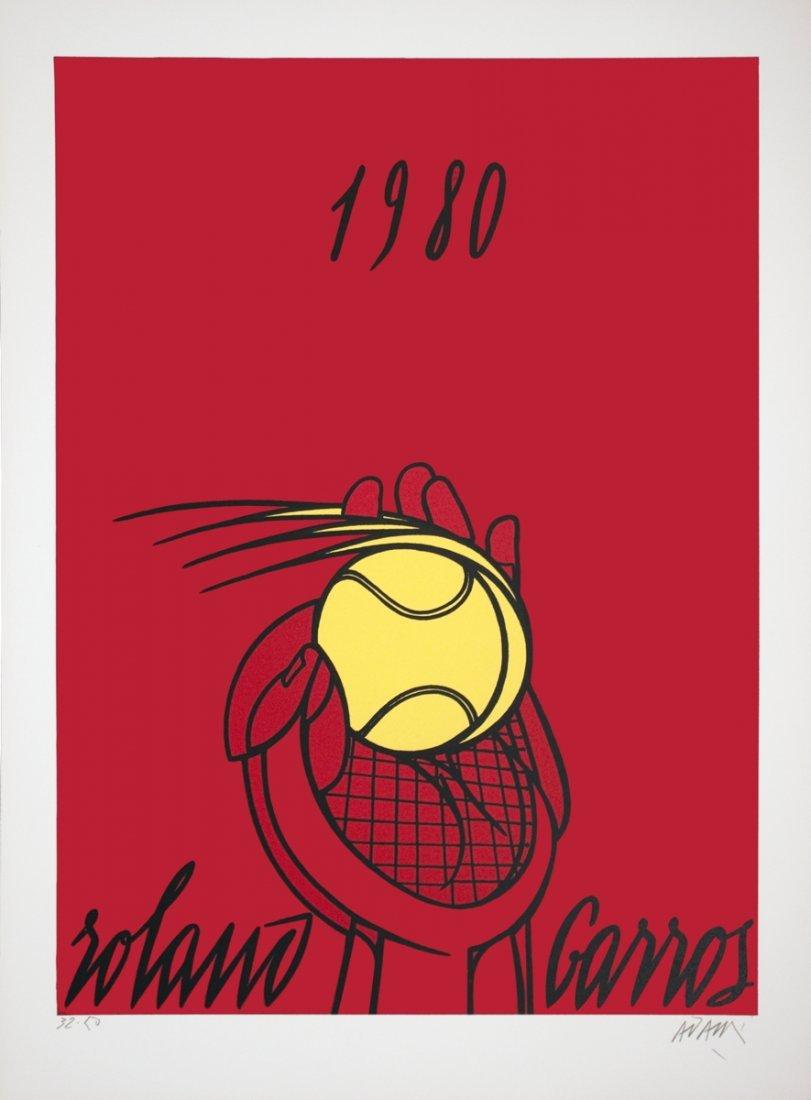 1002: S/N 1980 Adami Roland Garros Rouge Lithograph
