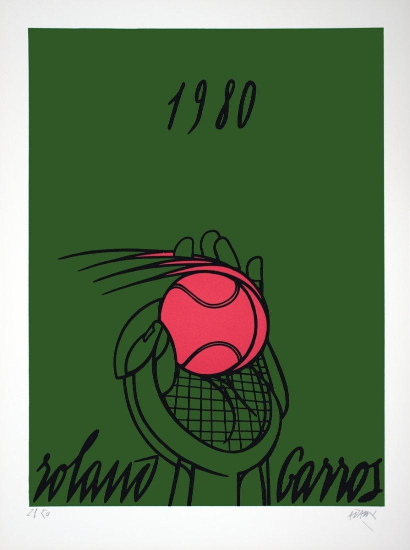 1003: S/N 1980 Adami Roland Garros Vert Lithograph