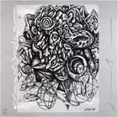 1034: Signed 1986 Borofsky From Art Sounds Print