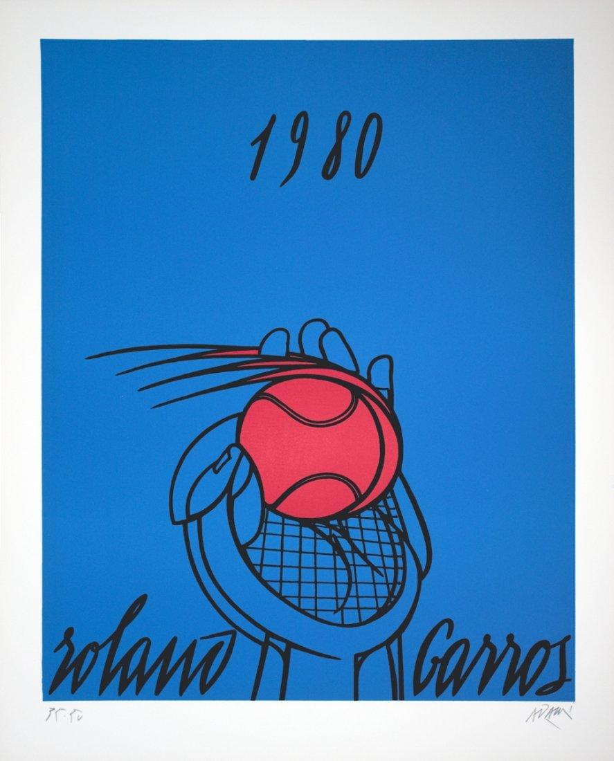1004: S/N 1980 Adami Roland Garros Bleu Lithograph