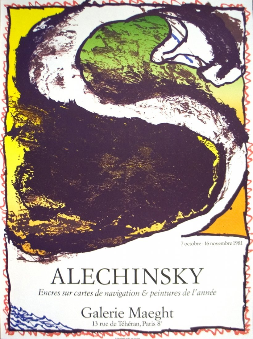 1011: 1981 Alechinsky Galerie Maeght Lithograph