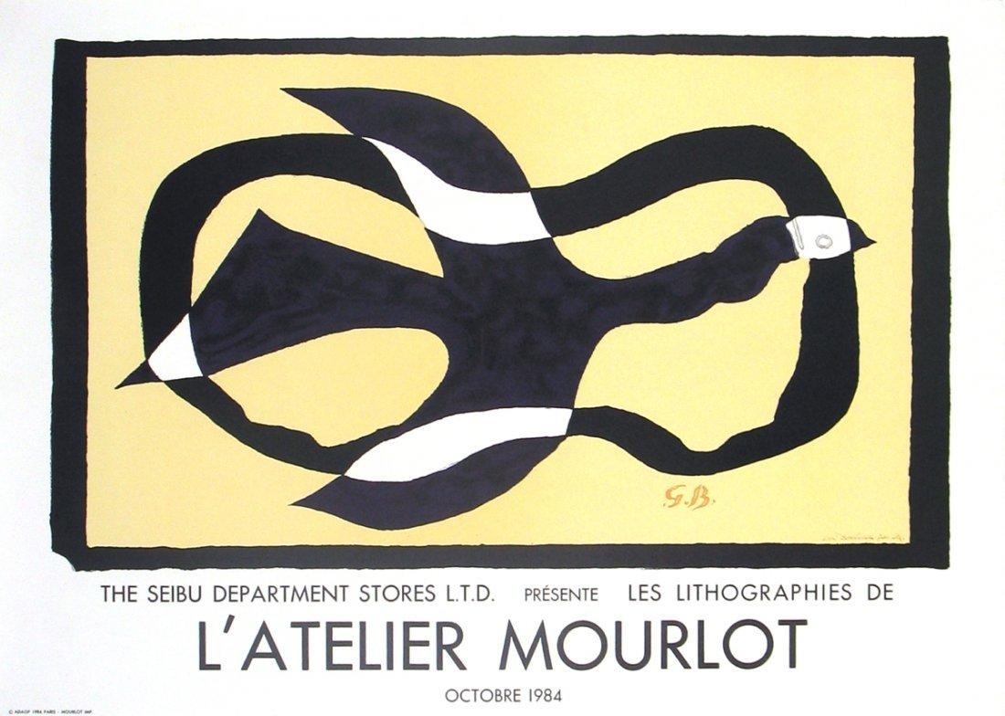 1012: Braque Oiseau Traversant un Nuage Mourlot Litho