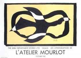 1016: 10 Braque 1984 Oiseau Traversant un Nuage Lithos