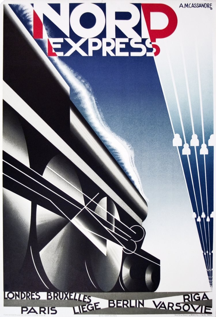 1024: 10 Cassandre 1980 Nord Express (Restrike) Lithos