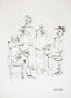 1970 Aizpiri Les Musiciens Mourlot Lithograph