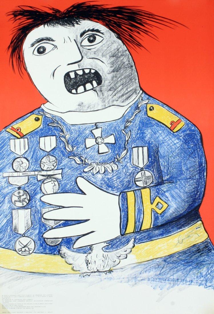 1010: Signed Baj Homme de Guerre Lithograph