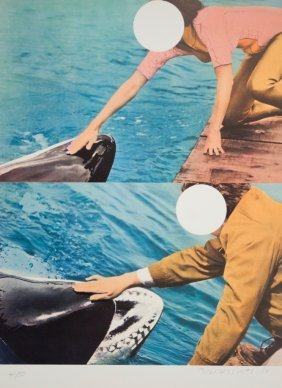 S/N Baldessari Two Whales (with People) Serigraph