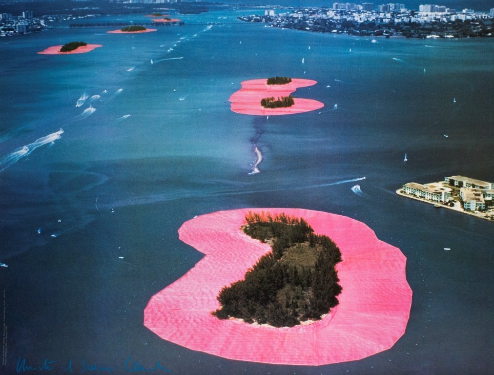 1067: Signed Christo Surrounded Islands, Florida Poster