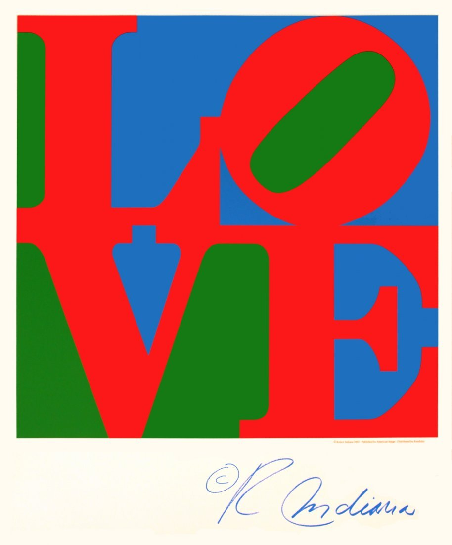 1201: 2004 Indiana LOVE (Blue, Green, Red) Serigraph