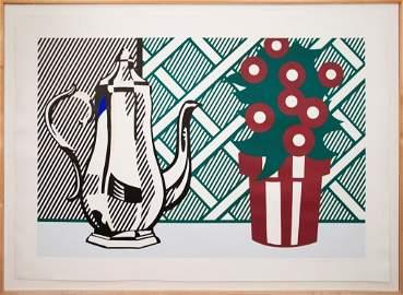 1274: S/N Lichtenstein Coffee & Flower Pots Still Life