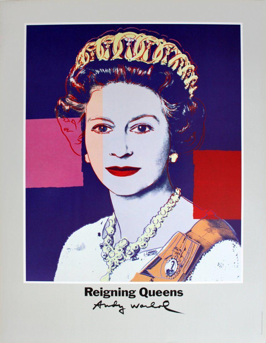 1510: 1986 Warhol Queen Elizabeth II of England Poster