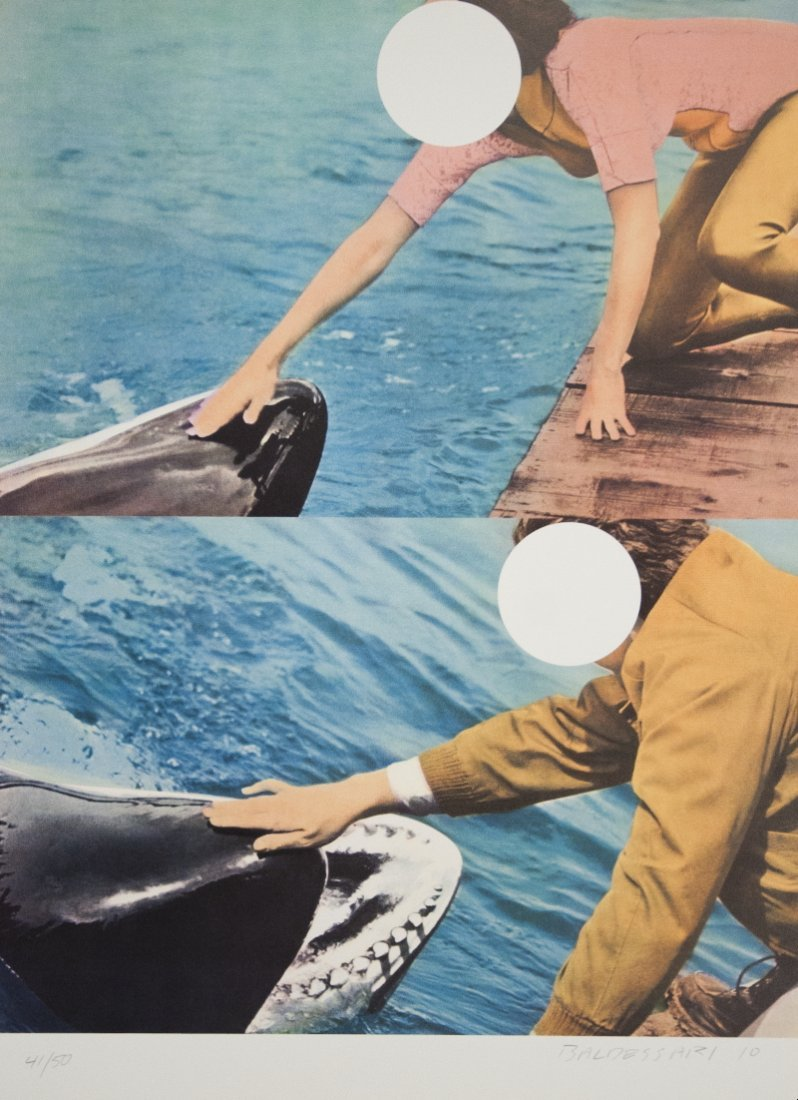Signed Baldessari Two Whales w/ People Serigraph