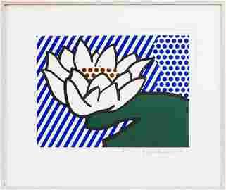 Signed 1993 Lichtenstein Water Lily Serigraph